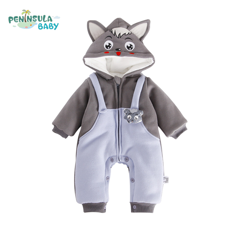 Newborn Baby Jumpsuit Warm Winter Boys And Girls Toddler Rompers Cartoon Animal Wolf Long Sleeves Overalls Cotton Kids Clothes 2017 baby boys girls long sleeve winter rompers thicken warm baby winter clothes roupa infantil boys girls outfits cc456 cgr1