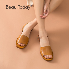 цена на BeauToday Summer Beach Sandals Women Cow Leather Slingback Strap Ladies Gladiator Style Genuine leather Flat Shoes 32124