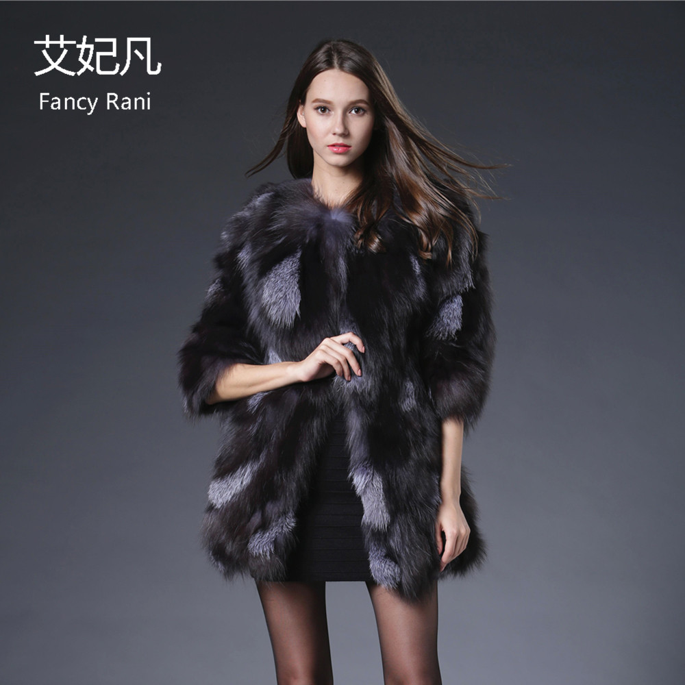 2018 Echte Fuchspelzmäntel für Frauen Kristall Jacke Mantel Silber - Damenbekleidung - Foto 1