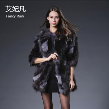 2018 Real Fox Fur Coats for Women Crystal Jacket Coat Silver Real Fox Fur Long Coat Female Fashion Luxury Genuine Fox Fur Jacket image