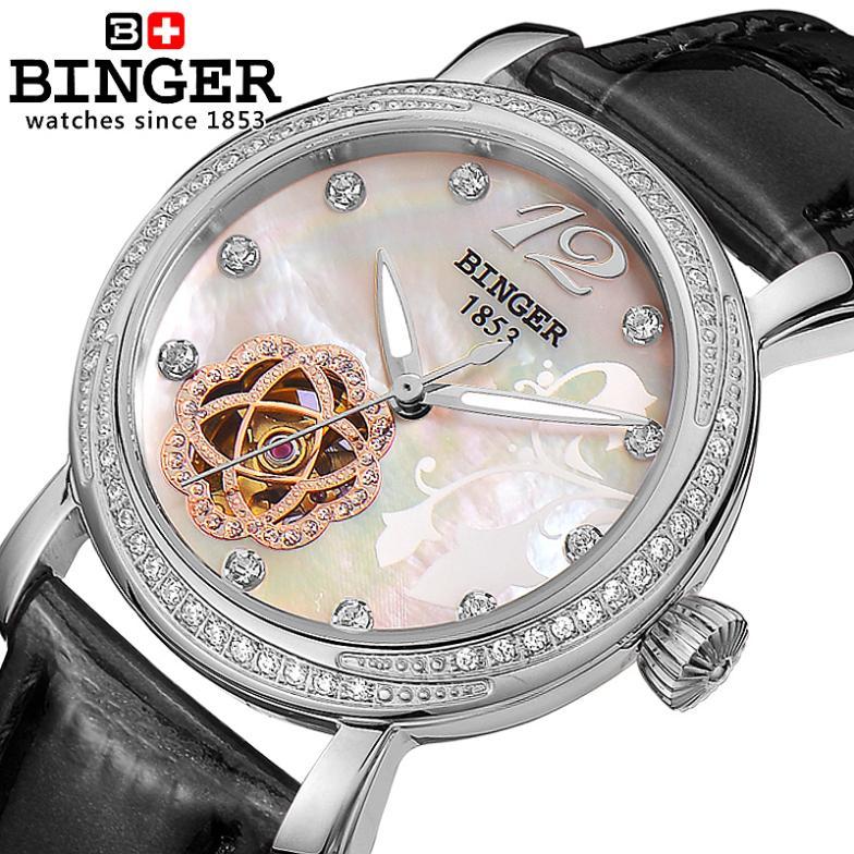 Switzerland Binger Women's watches fashion luxury watch leather strap automatic winding mechanical Wristwatches B-1132L binger 100