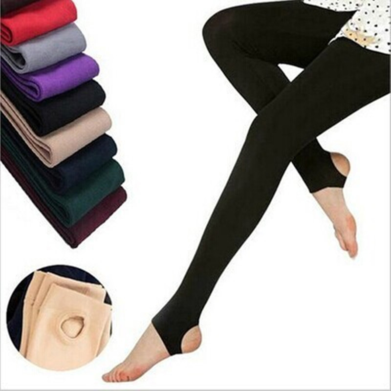 Women Warm Winter Step Foot Leggings Elastic Thick Spandex Fleece Pants Ankle Length Leggings 9 Colors Fitness Slim Leggins