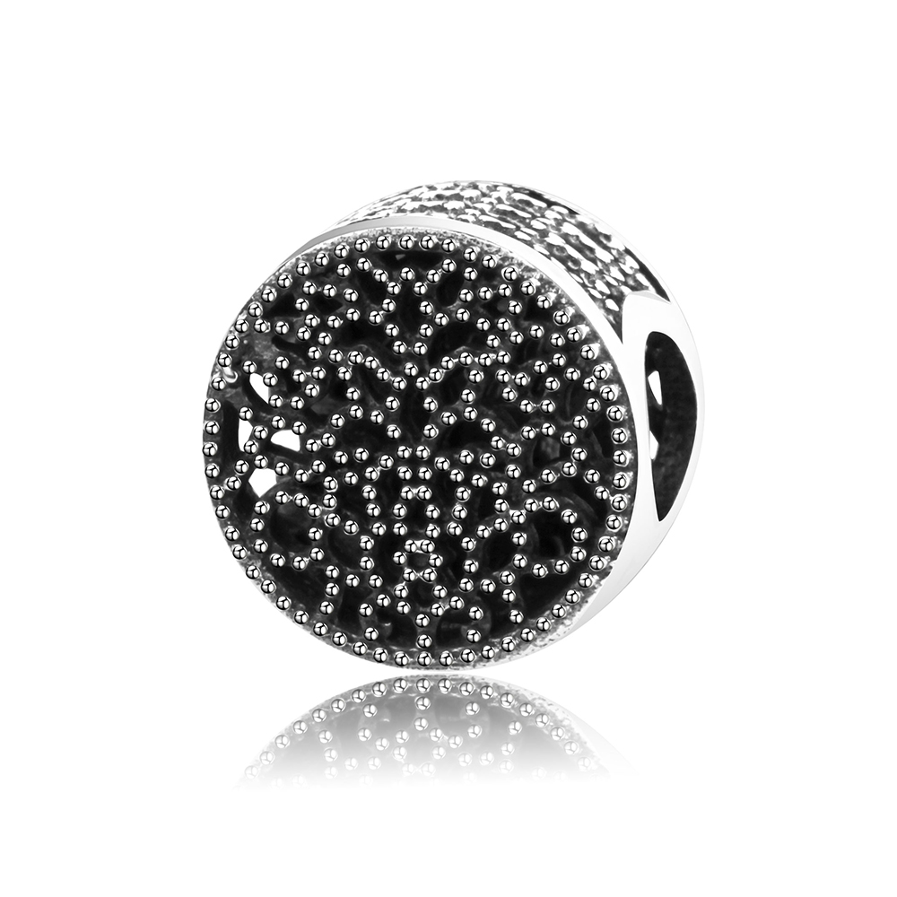 100% 925 Sterling Silver Vintage Black Openwork Beads Fit Original Pandora Charm Bracelet Authentic DIY Jewelry Gift Berloque