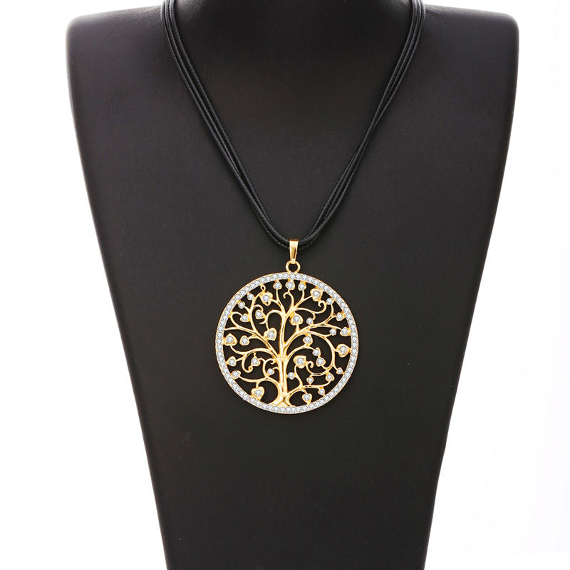 Big Round Tree of Life Pendant Necklace for Women Long Layered Leather Necklace Chain Necklaces & Pendants Jewelry Accessories
