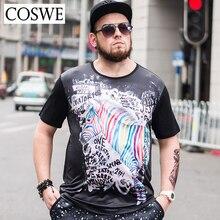 COSWE 6XL Summer Short T Shirts Men 3D Printed Unicorn Black T-Shirt Plus Size Fashion Mens Tshirt For Men Casual Male Tee Shirt
