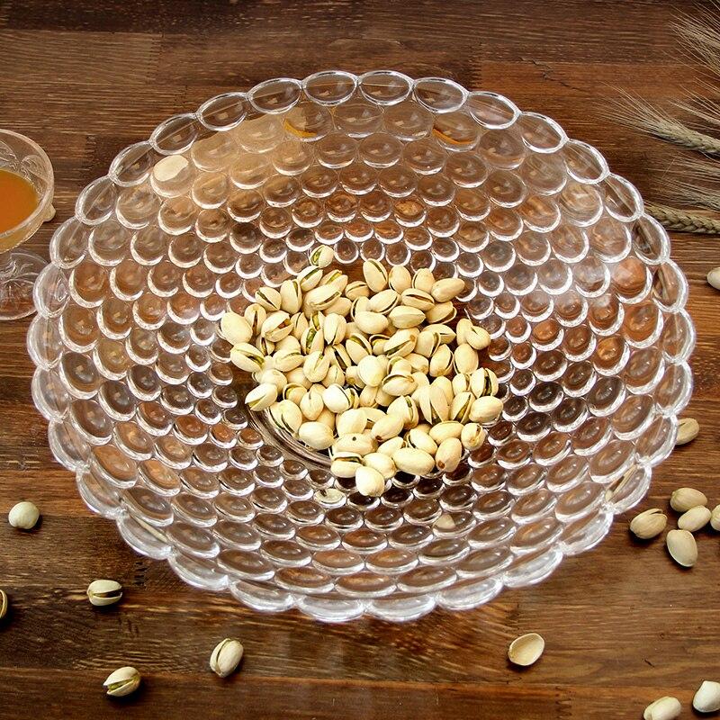 Plateau à gâteau rond en verre de 12 ''  Perles de secours, plateau de fruits décoratif, organisateur de bonbons, plateau de salon, vaisselle, verrerie de cuisine - 5