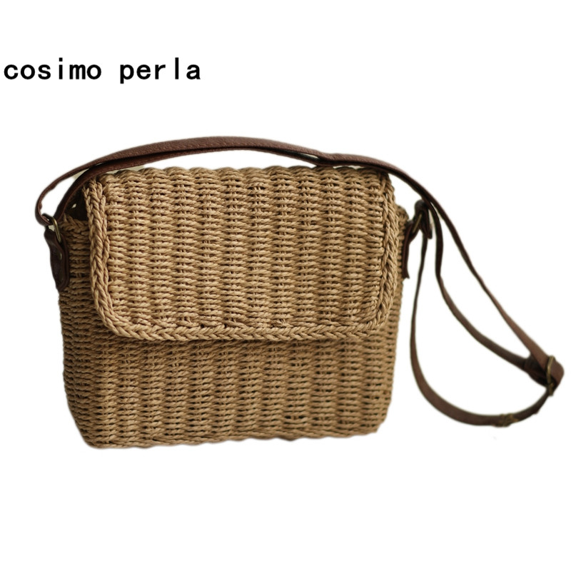 INS Small Square Handbags Braided Straw Beach Bags Summer Flap Crossbody bags for Women 2018 Causal Japan Messenger Shoulder Bag