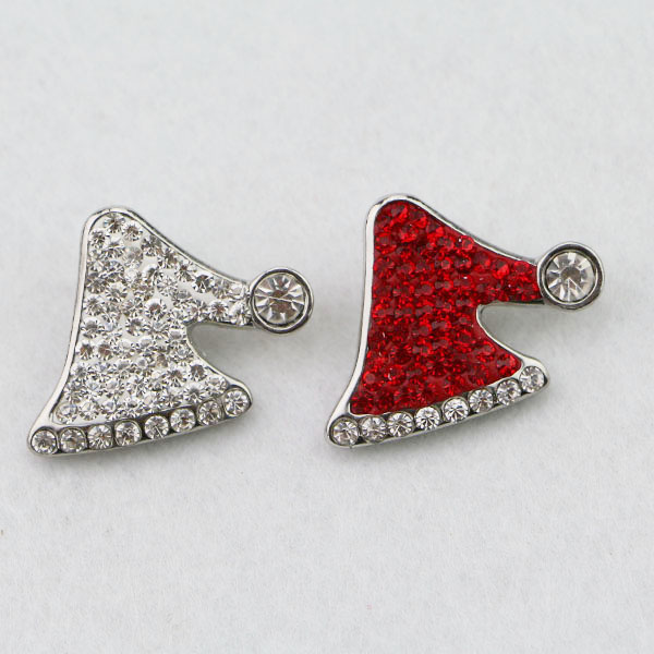 Hot Sale Christmas Santa Claus Hat Snap Buttons Red Crystal Metal Snap Button Charms fits Snap Button Bracelet jewelry