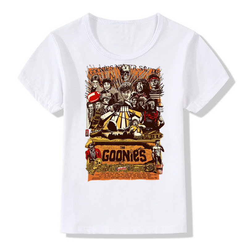 Boys&Girls Print The Goonies Never Say Die Fashion T-shirt Children Astoria T shirt Kids Tops Tee Baby Clothes,HKP793 plus cactus print tee