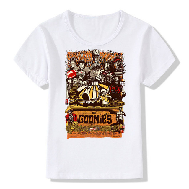 4d8f39539d5 Boys Girls Print The Goonies Never Say Die Fashion T-shirt Children Astoria  T shirt Kids Tops Tee Baby Clothes