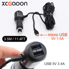 XCGaoon 3.5meter 5V 3.4A micro USB Car Charger with 2 USB Port for Smartphone Mobile Car DVR Camera GPS input DC 12V – 24V