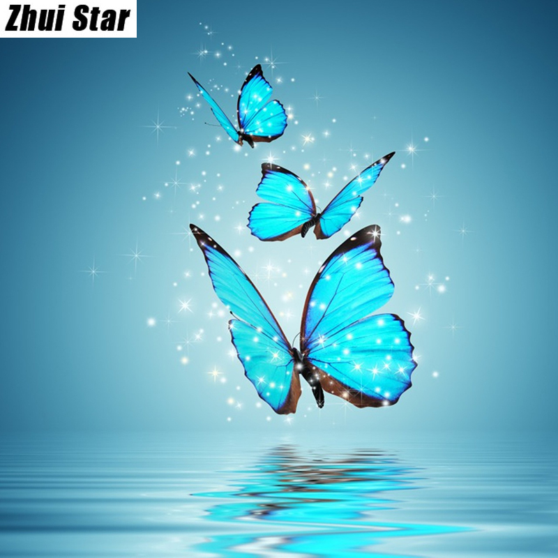 "New Full Square Diamond 5D DIY Diamantmålning ""Blue Butterfly"" Broderi Cross Stitch Rhinestone Mosaic Painting Decor Gift"