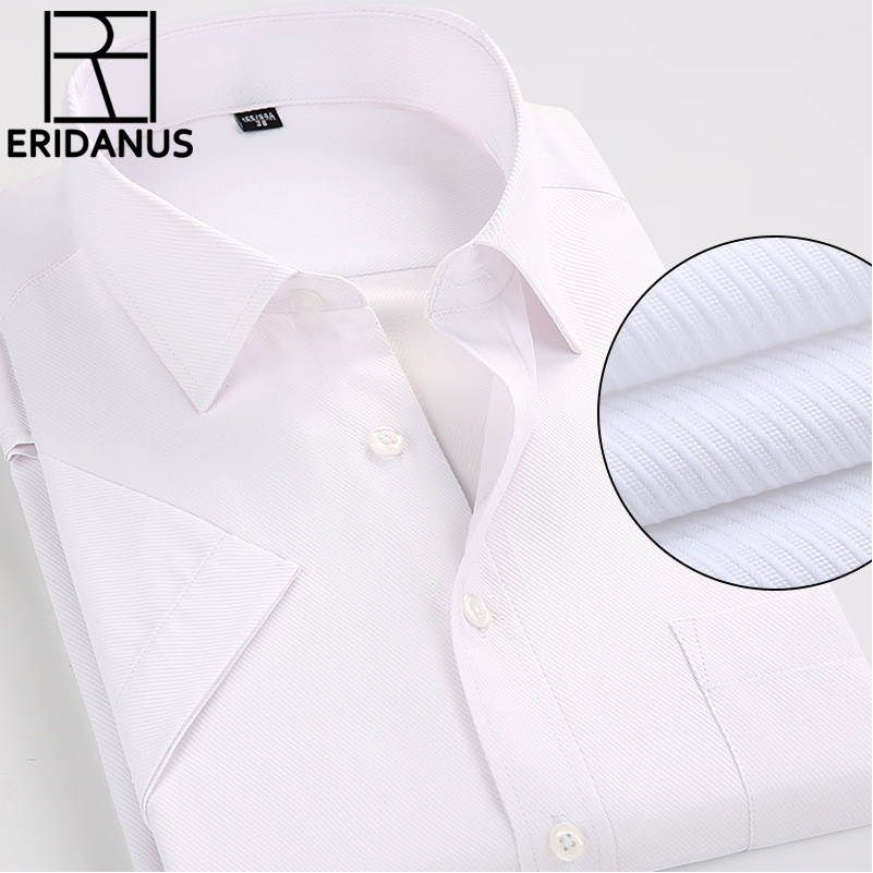 2016 Man Short Sleeve Dress Shirt Summer Style New Arrival Simple Design Breathable Casual Men Business Non-Iron Shirts 4XL M084