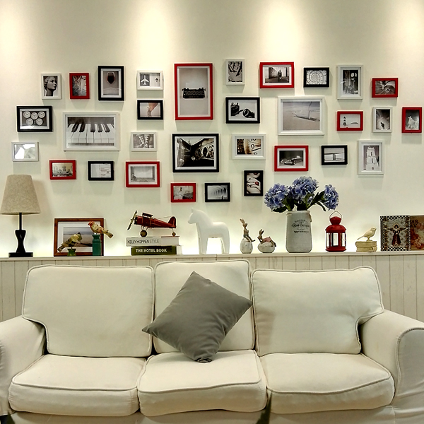 31 pcs 17 colors diy modern vintage picture frames large living room wall simple collage photo creative combination style sale