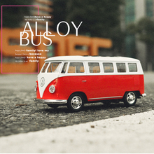 1:32 VolkwagenTransport Bus 1950 Alloy Metal Car Pull Back Flashing Diecast Hot Toys For Children Wheels Birthday Collection 1 18 schuco setra s6 fischer bus diecast metal bus car model toys for kids children collection