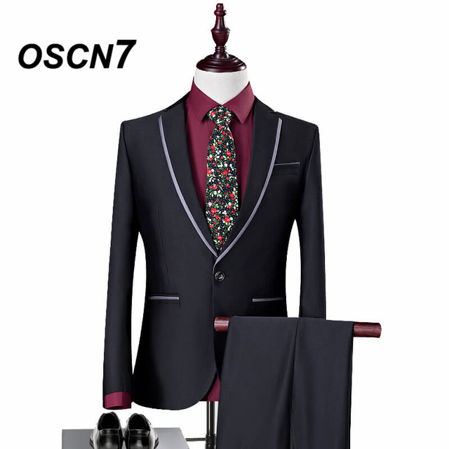 OSCN7 Wedding Suits for Groom Black 2 Piece Fashion Leisure Suit Men Plus Size Party Gorgeous Tuxedo 3XL