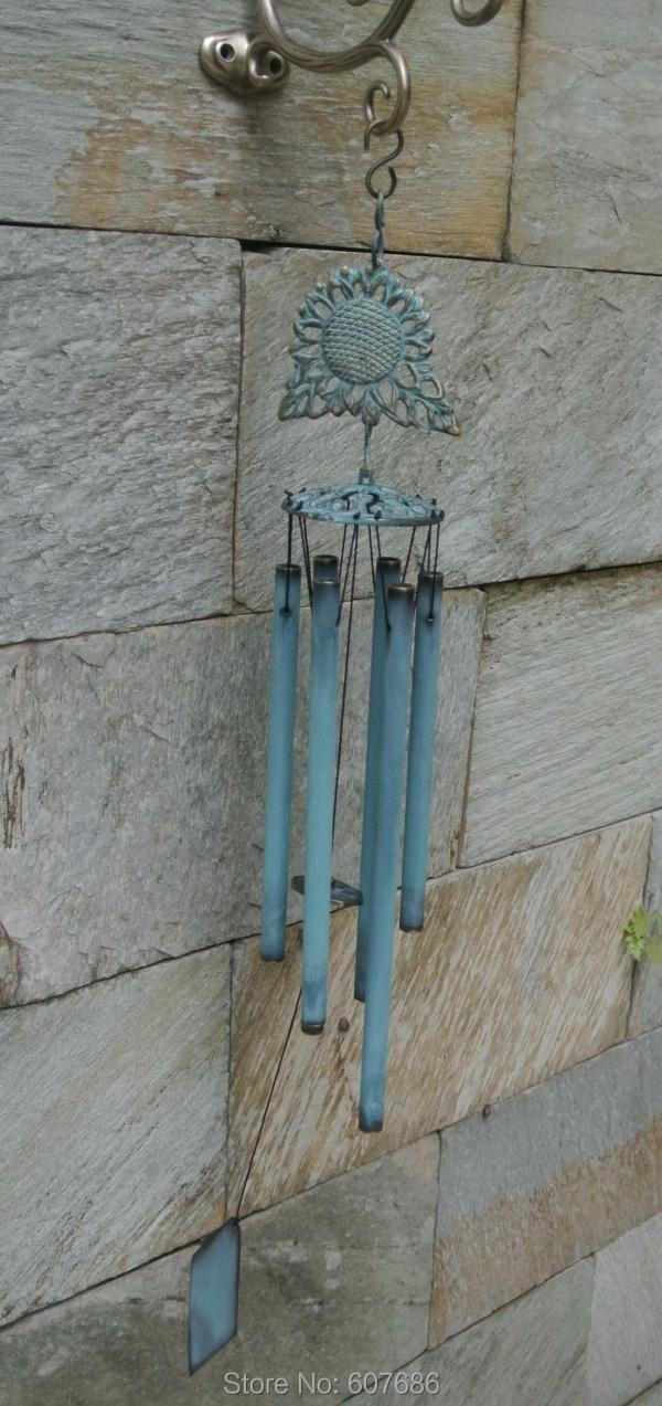 Подсолнечник Латунные Колокольчики с 6 трубами Verdigris бронзовые подвесные украшения металлические китайские колокольчики колокольчик нару... - 2