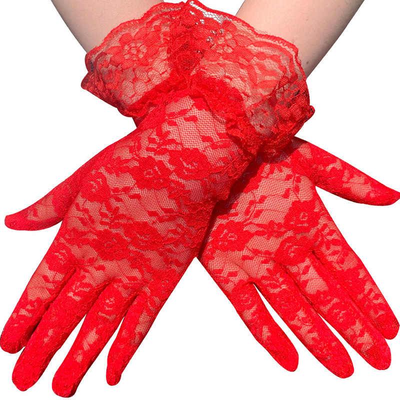 Черные, белые, розовые, красные, модные женские, дамские, кружевные, вечерние, сексуальные, нарядные перчатки, летние, полный палец, солнцезащитные перчатки для девочек, варежки