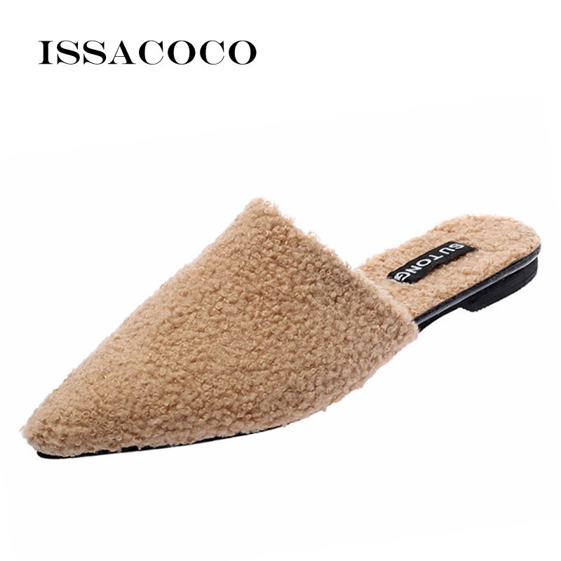 ISSACOCO Home Slippers Women Flats Shoes Woman Loafers Summer Solid Color Pointed Toe Footwear Mules Ladies