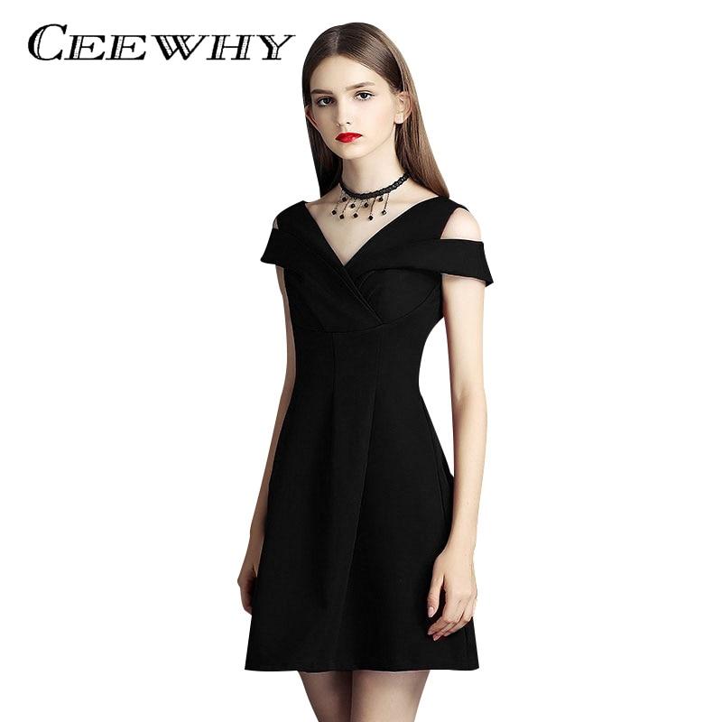 CEEWHY Burgundy V neck Little Black Dress Formal Party Mini Dress Vestidos de Coctel Short ...