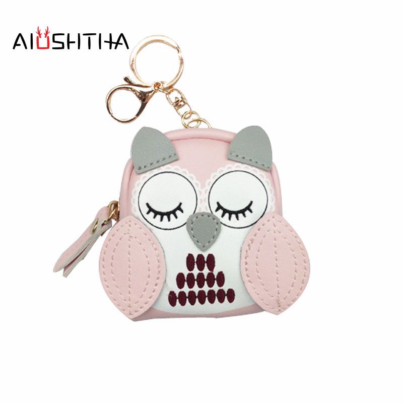 Owl coin purses women wallets small mini cute cartoon card holder key headset money bags for girls ladies purse pink green blue