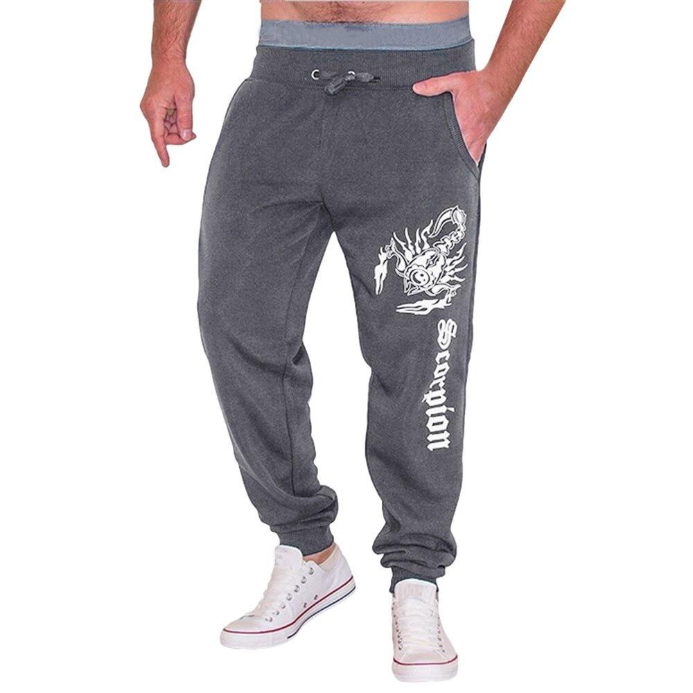 Men Pants Men's Casual Autumn Winter Cotton Blend Print Hip Hop Sports Trousers Joggers Casual Straight Pants Men Elastic C0413