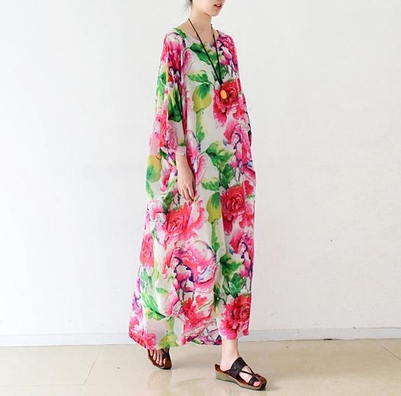 Neue Ankunft 2016 das meiste schöne Blumendruck Baumwollleinenkleid, - Damenbekleidung - Foto 1