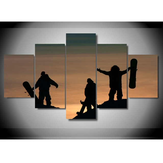 Canvas Painting Wall Art Home Decor Frame 5 Pieces Playing Snowboard ...
