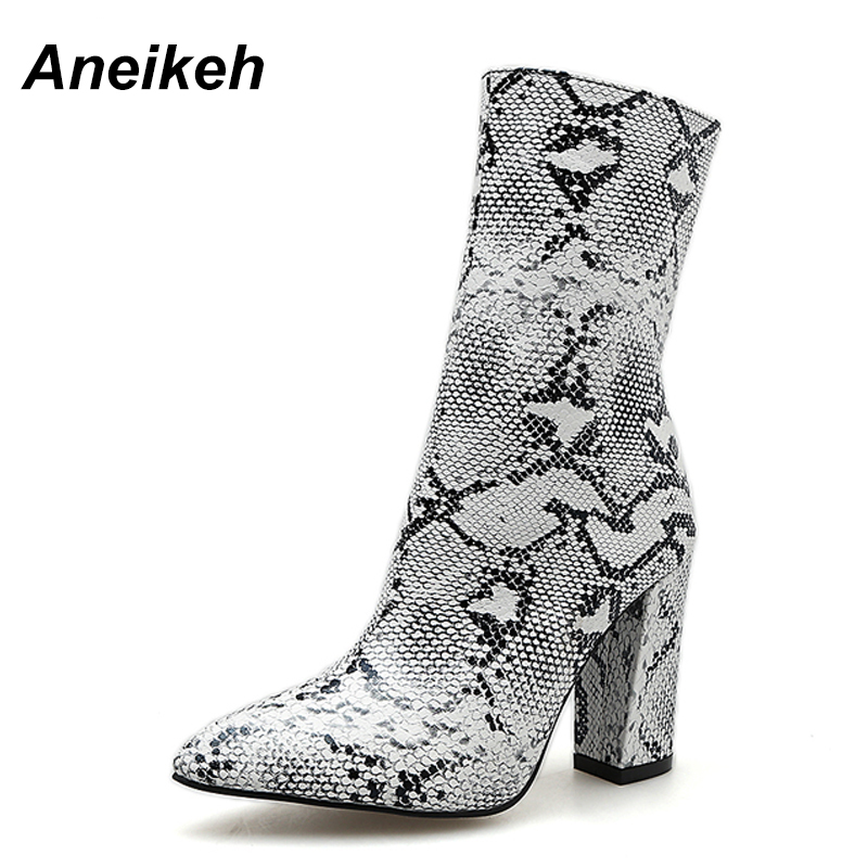 0dc8bd522742 Aneikeh Big Shoe Size 41 42 Women Zipper Boots Snake Print Ankle Boots  Square heel Pointed Toe Ladies Sexy Shoes Chelsea Boots