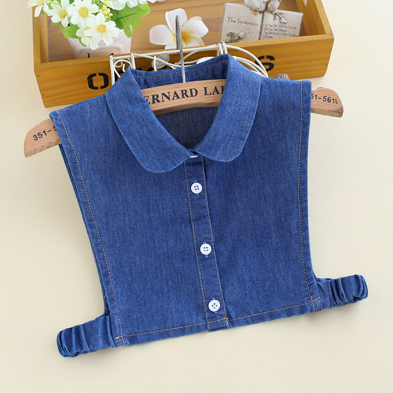 Child Plaid Striped Denim Cotton Fake Collar Button Half Shirt Peter Pan Detachable False Collar Student Kid Lapel Blouse Tops
