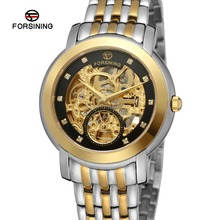 Forsining Men's Watch Luxury Brand Classic Stainless Steel Case Skeleton Clear Stone Analog Best Wristwatch Color Gold FSG9410M4