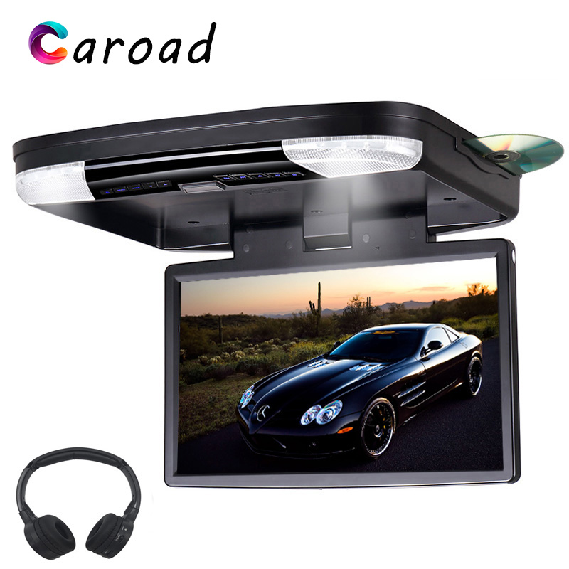Monitor In Car 15.6 Inch Full HD Car Roof Screen With USB/SD/HDMI/IR/FM Transmitter Support 32 Bit Wireless Game Car DVD Player(China)