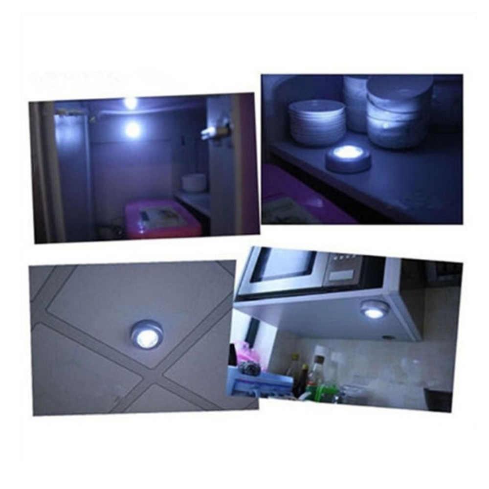 4 ĐÈN LED Điều Khiển Cảm Ứng Đèn Ngủ Đèn Tròn Dưới Tủ Tủ Quần Áo Đẩy Dính Trên Đèn Nhà Bếp Phòng Ngủ Ô Tô Sử Dụng