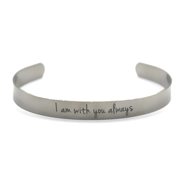 I M With You Always Inspirational Bracelet Love Stainless Steel Bangles Bracelets Adjule