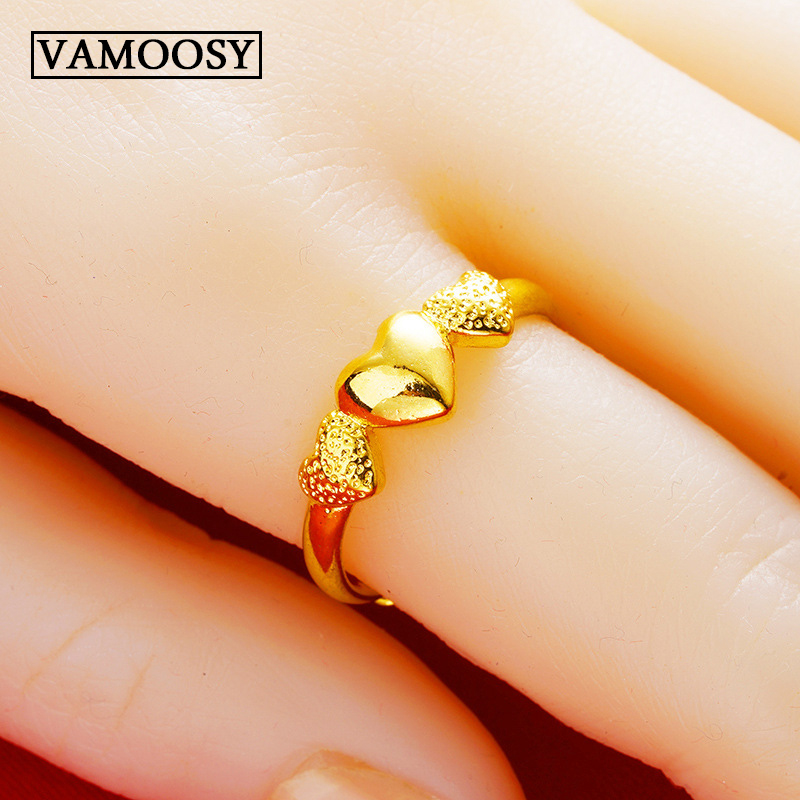 Pure 24K gold rings for women heart shape rings 2019 new fine wedding ring engagement ring FREE SHIPPING