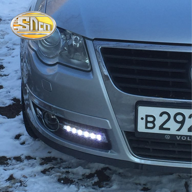 For Volkswagen Passat B6 2007 2008 2009,Super Brightness ABS Car DRL 12V LED Daytime Running Light Daylight Chromed Strip SNCN car fog lights for volkswagen vw passat b6 2005 2006 2007 2008 2009 2010 2014 car modification 12v led drl daytime running light