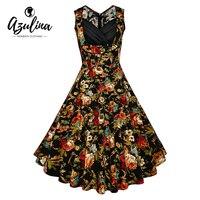 AZULINA 5XL 4XL Plus Size Women Floral Retro Dress Casual Female Print Flowers Elegant Ladies Vintage