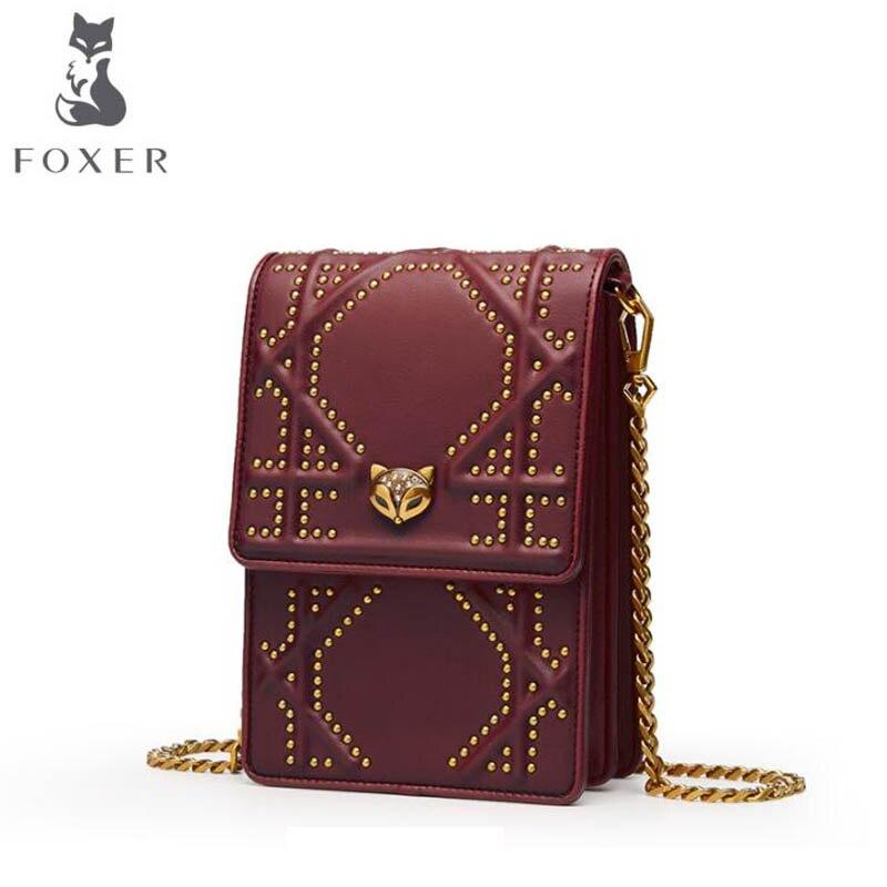 FOXER 2018 New women leather bag Fashion rivet Chain Mobile phone bag famous brand women shoulder bag Handbags & Crossbody bags foxer brand 2018 women leather crossbody bag