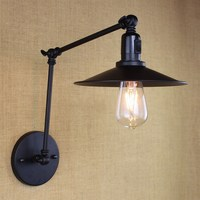antique black retro industrial MINI adjustable wall lamp with long swing arm for workroom bedside bedroom illumination sconce