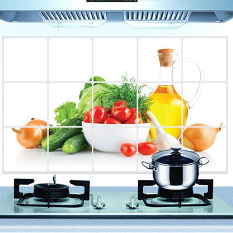 Neue 3D DIY ölbeständige Küche Wandaufkleber Green Fruits Wandbild Home Decoration Poster Keramikfliesen Abnehmbare Wandtattoo für Wände