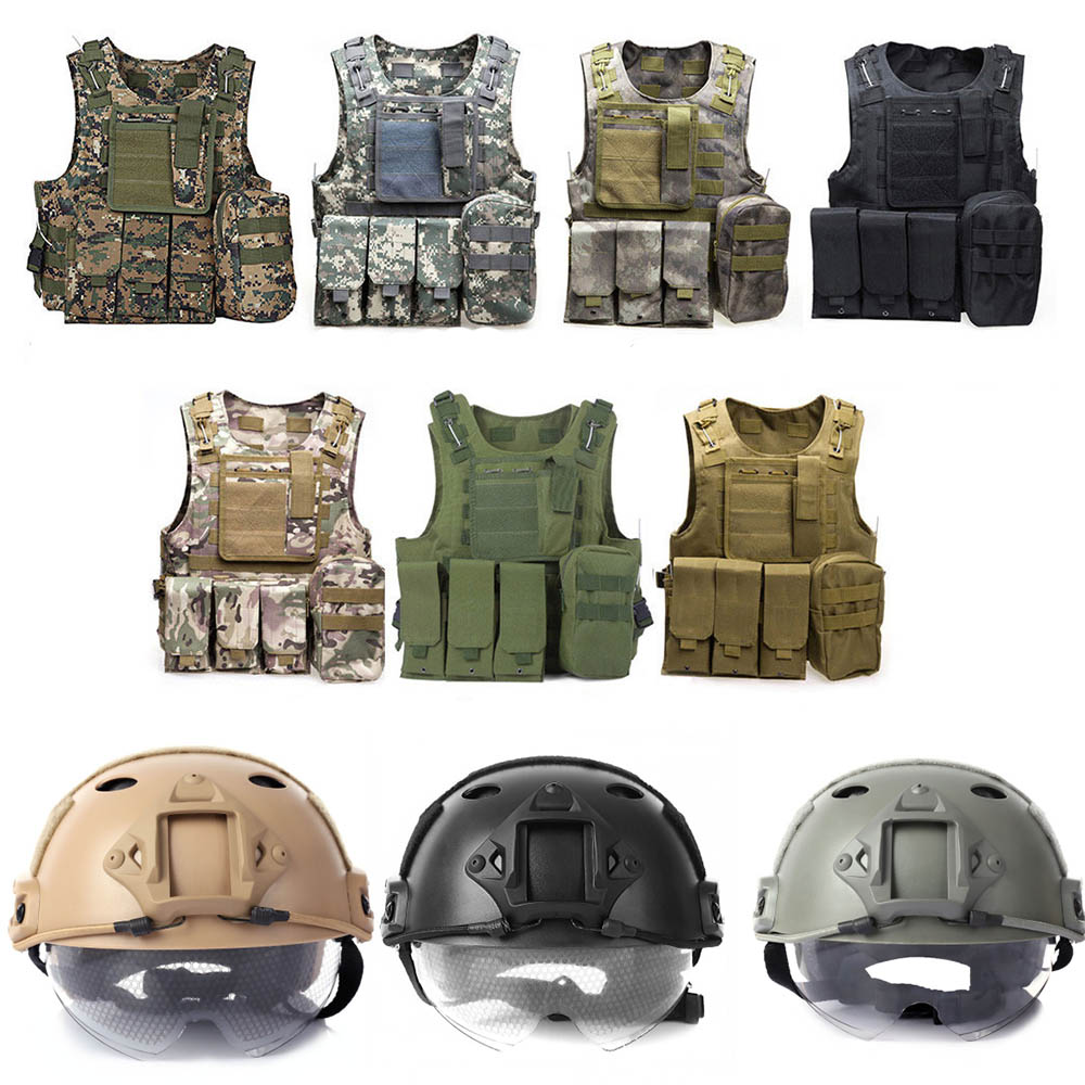 Military Tactical Vest +Tactical Helmet Army Molle Hunting Vest Assault Plate Carrier CS Airsoft Paintball CS Game Safety Helmet