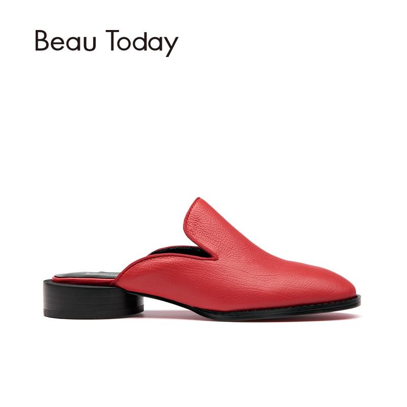 Beautoday Veau Main Slip Véritable Chaussures Rouge En Ouvert Rond À rouge Noir Cuir Sole Sur Pompe Mules Femmes 35036 Talon La rTwOqprn
