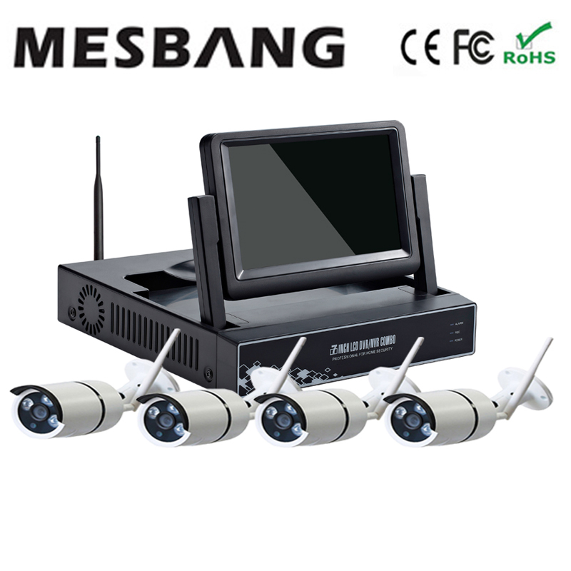 Mesbang 720P P2P wireless cctv camera system  wifi 4ch nvr 7 inch monitor easy to install delivery by DHL Fedex free shipping 10 lcd monitor wireless nvr with 4pcs 720p wireless camera make up wireless surveillance system easy instal and easy use