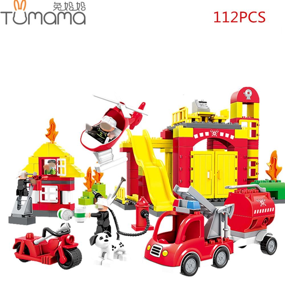 Tumama 112/86pcs City Fire Rescue Series Building Blocks Brick Compatible with Duplo Educational Enlighten Toys Large Particles