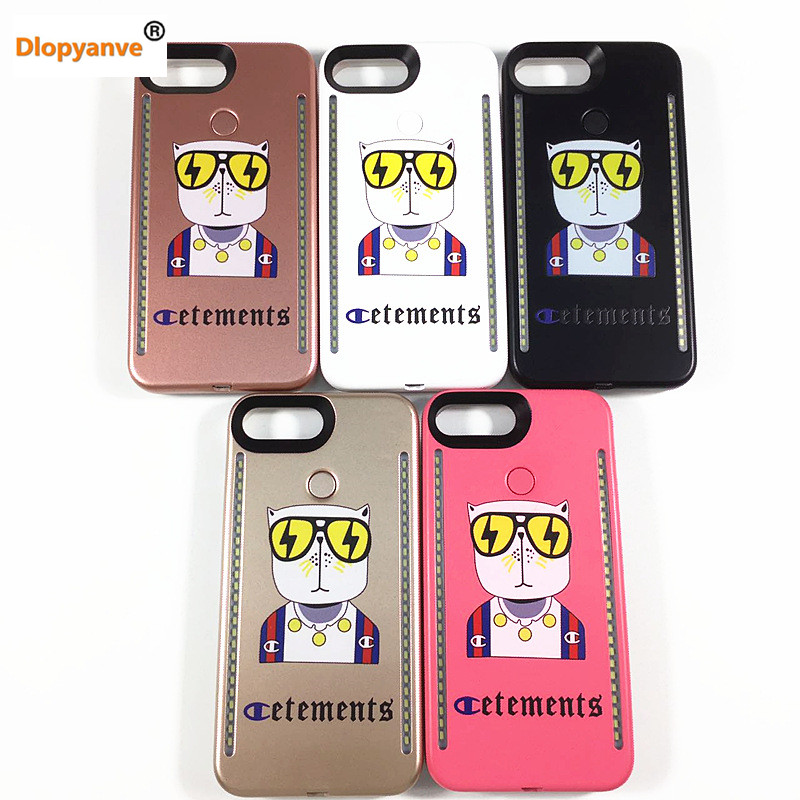Dlopyanve Case Painted LED Light Selfie Phone Case For Iphone 6 6S 7 8 Plus Phone Cover