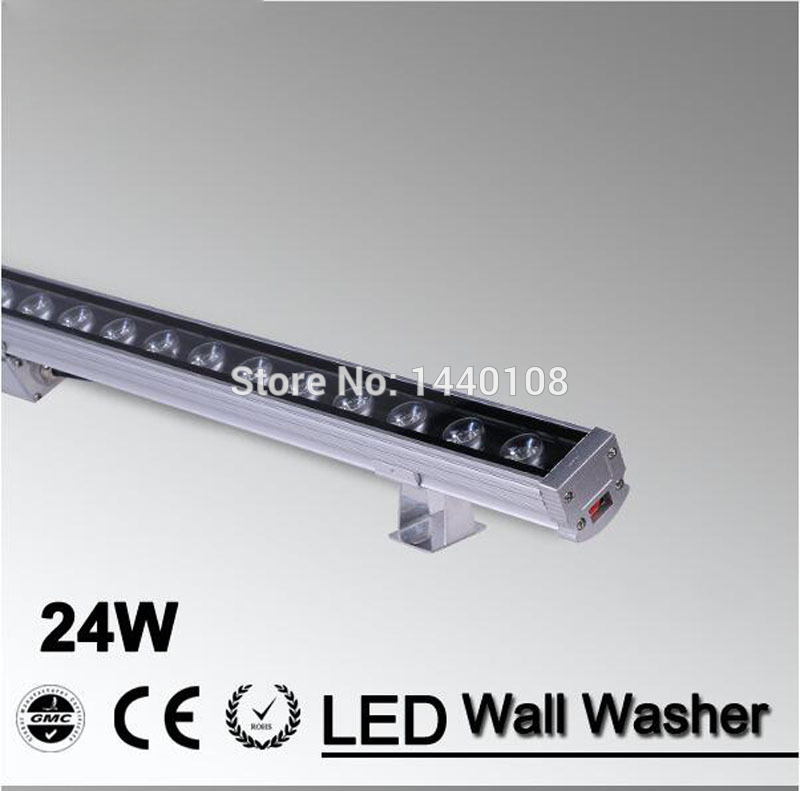 5pcs/lot LED Wall Washer Light 24W 1000mm*46*46mm AC85-265V IP65 Waterproof RGB garden light  Outdoor Lighting