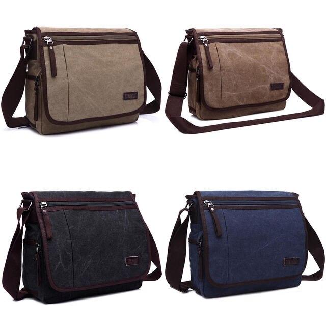 Men s Casual Canvas Shoulder Bag College Students Bookbag Military Satchel  Sling Vintage Messenger Bag 388070b7d70ba