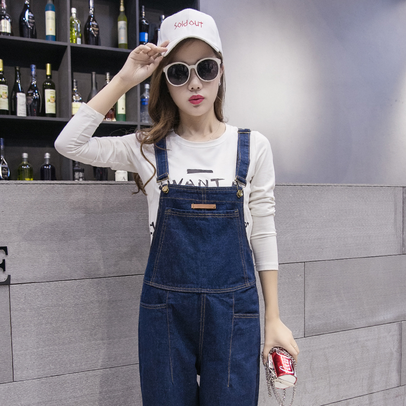 Buy 2018 New Korean Fashion Split Solid Jeans Jumpsuits Denim Suspenders