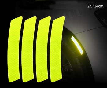 Car Trunk Bumper Safety Warning Light Reflector Protective Stickers Wheel Eyebrow Reflective Warning Strip For VW For BMW image
