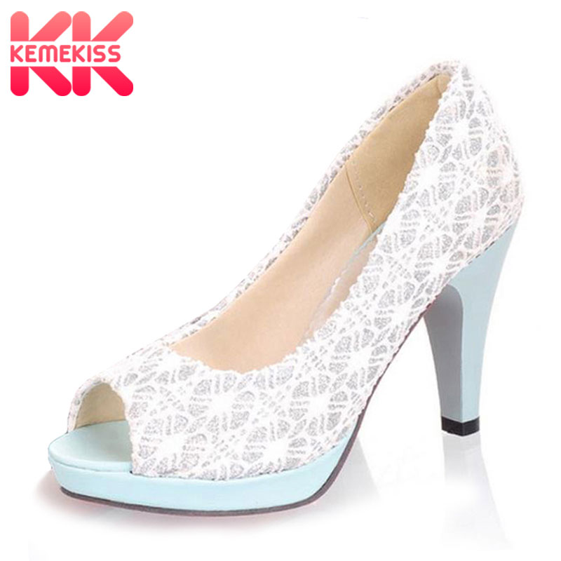 KemeKiss Ladies Stiletto High Heels Peep Toe Shoes Dress Shoes Women Wedding Lace Slip-On Platform Pumps Size 31-43 PA00382 taoffen ladies stiletto high heels peep toe shoes shoes women wedding lace sexy casual slip on platform pumps size 31 43 pa00382